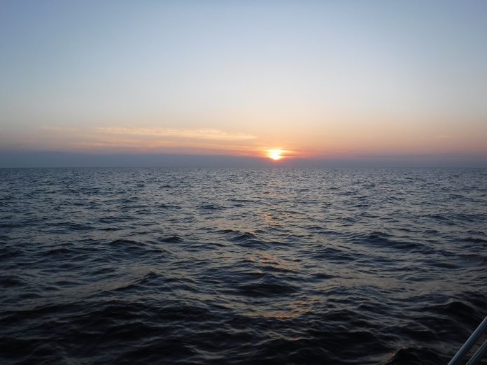 First sunrise at sea on this trip